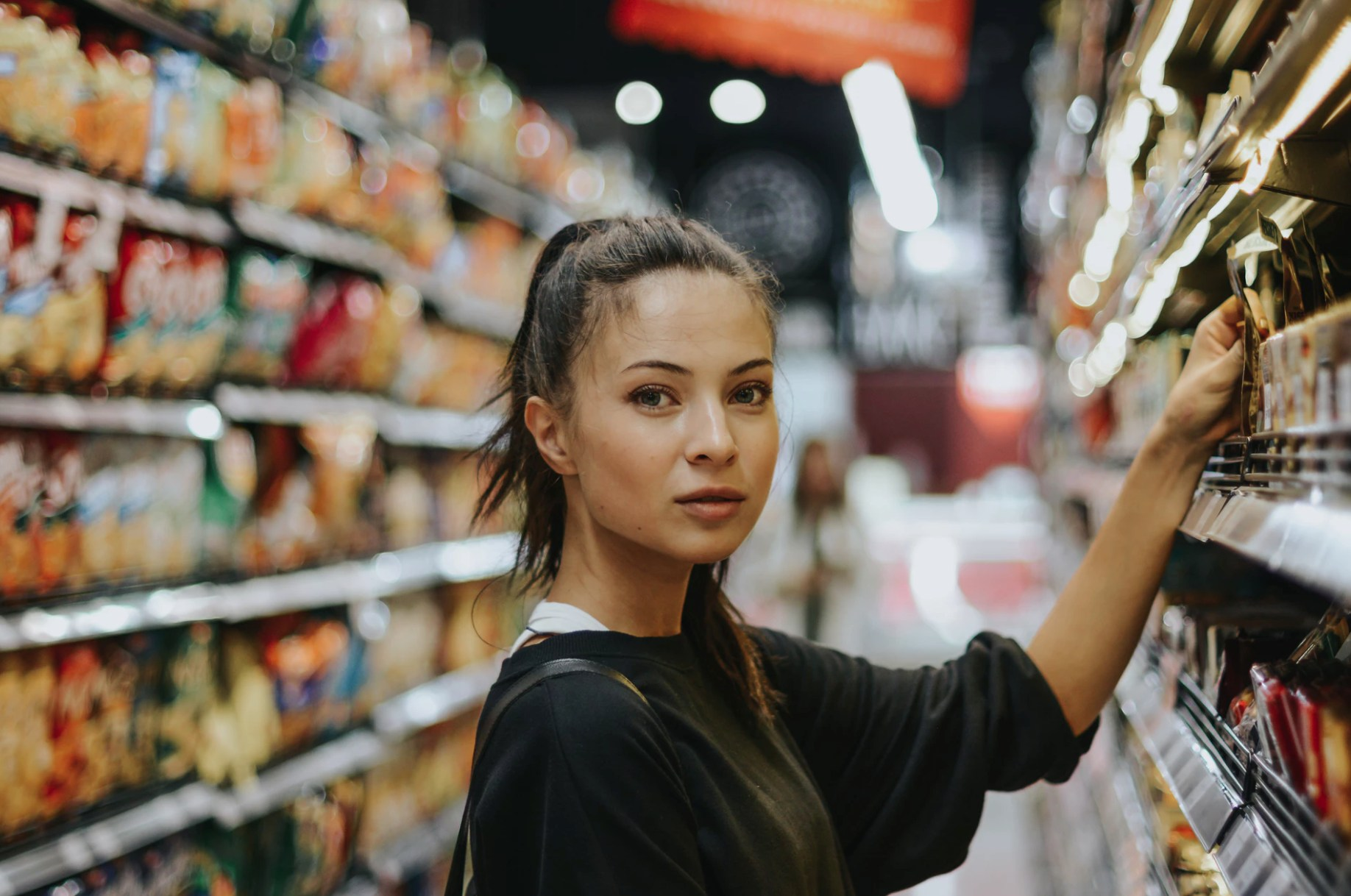 A woman shopping in the supermarket