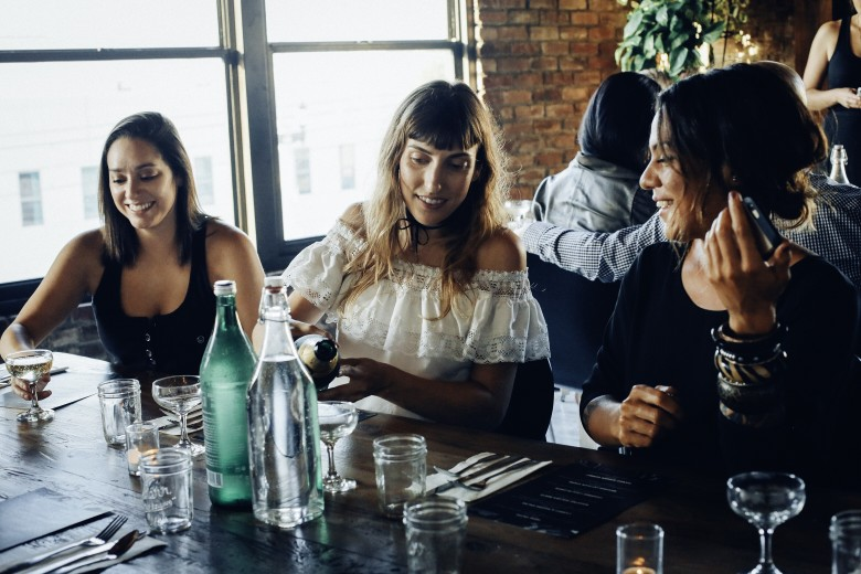 Three young women in a restaurant