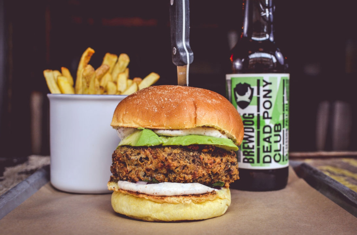 Vegan burger at BrewDog