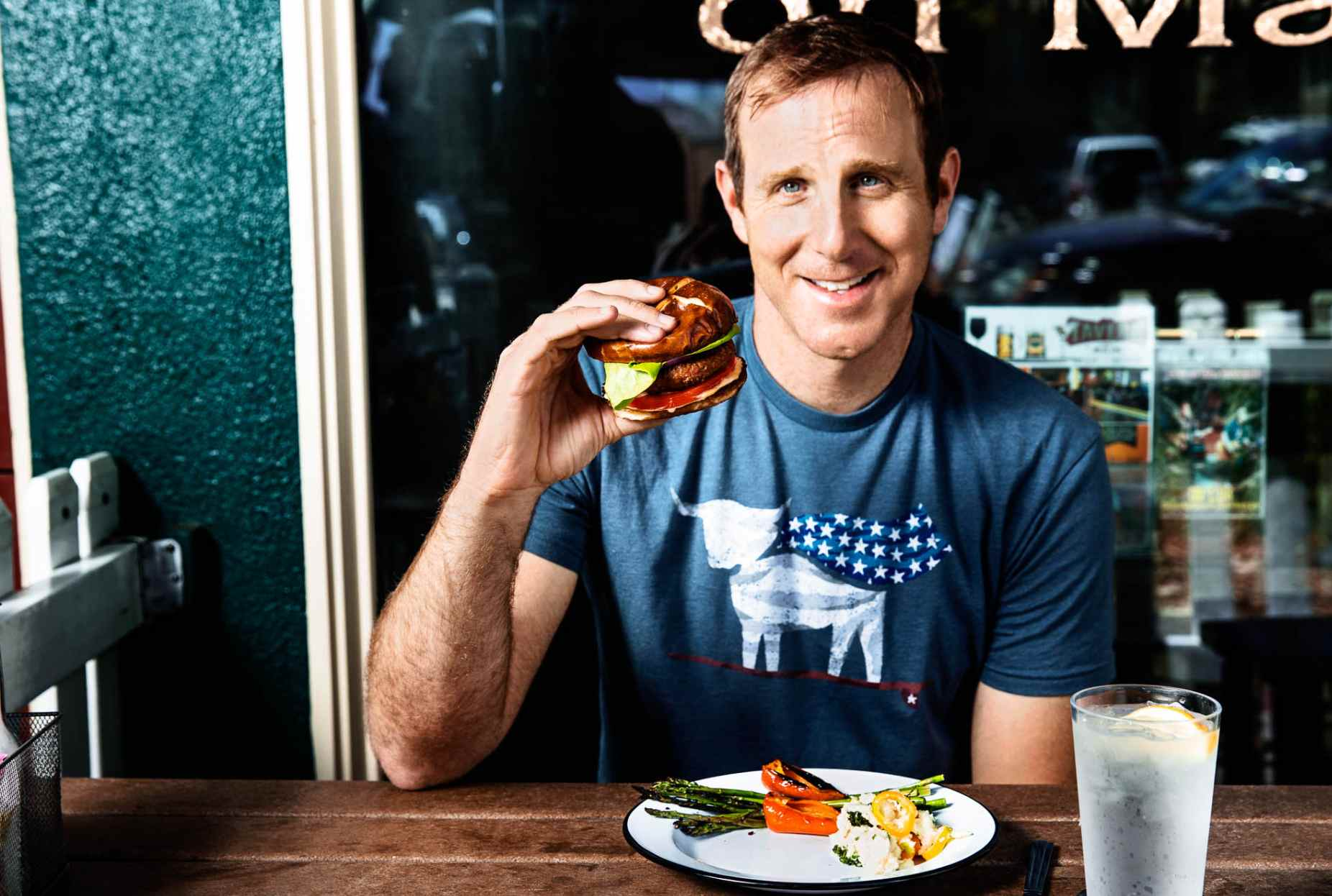Beyond Meat Founder Ethan Brown eats a Beyond Burger