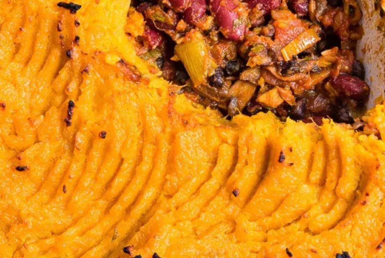 Vegan shepherd's pie with sweet potato
