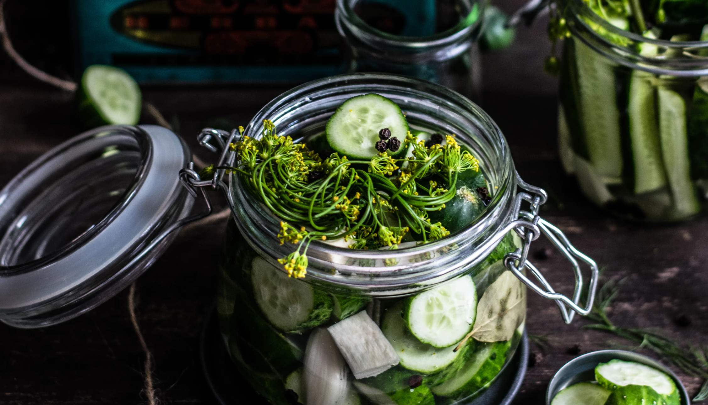 Homemade picked cucumbers in a mason jar