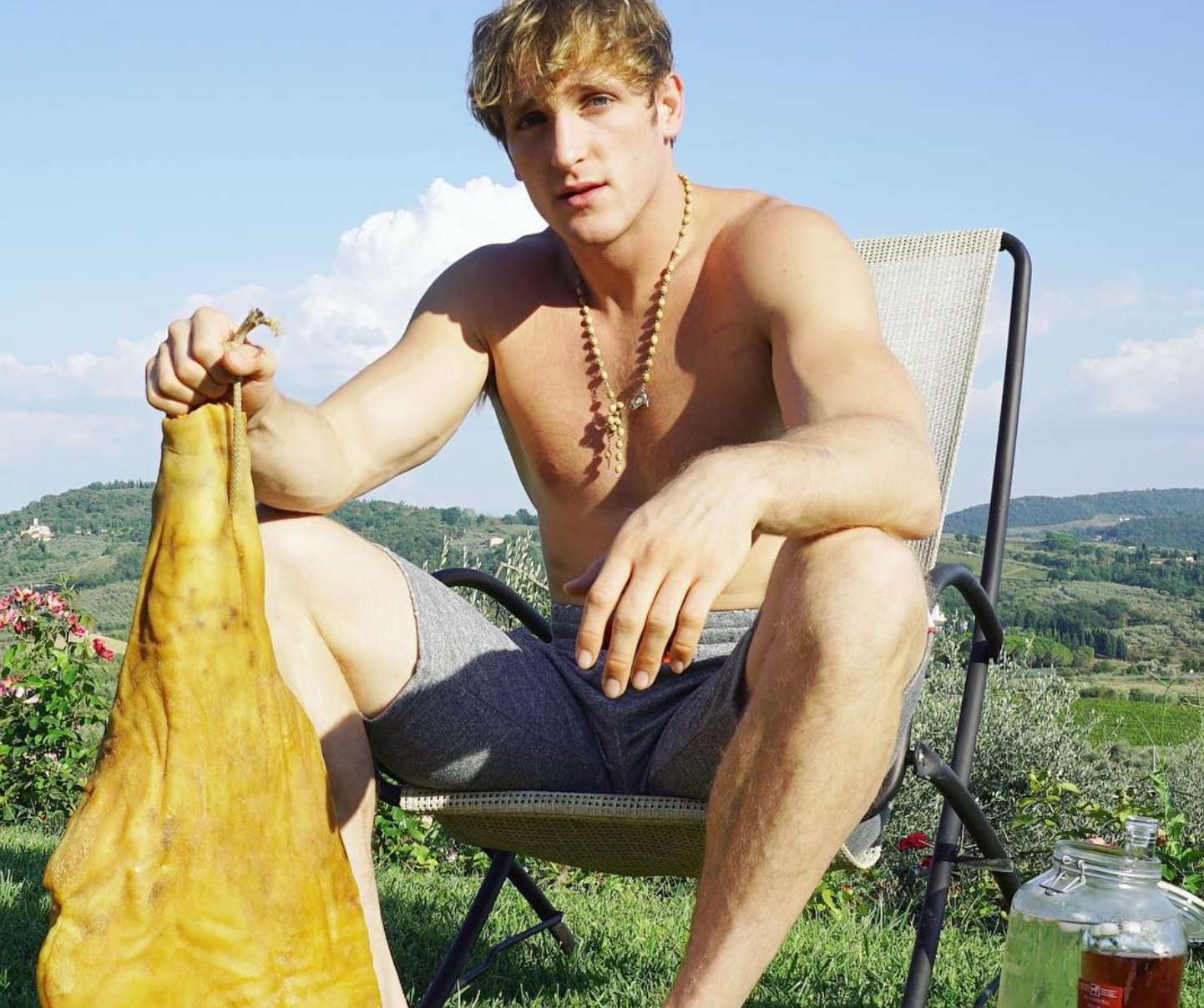 YouTuber Logan Paul poses with ham