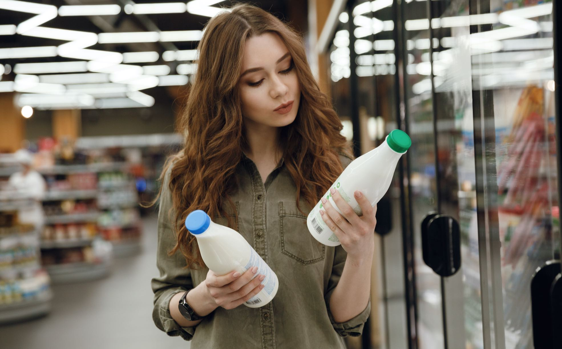 Woman Shopping For Milk