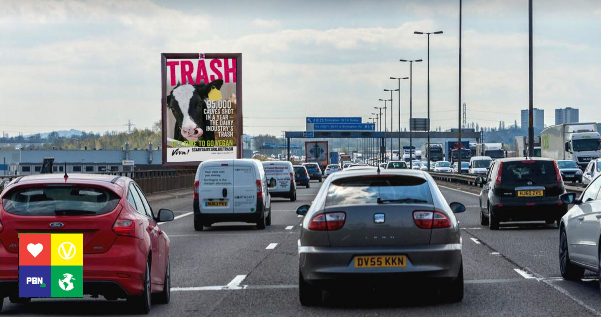 Pro-vegan billboards on UK motorway