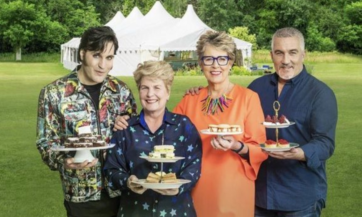 GBBO hosts Show hosts Noel Fielding, Sandi Toksvig, Paul Hollywood and Prue Leith