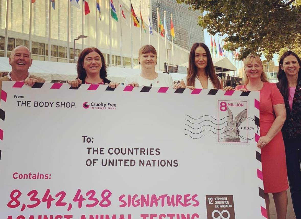 Cruelty Free Internationl delivers 8.3 million signatures against animal testing to the United Nations
