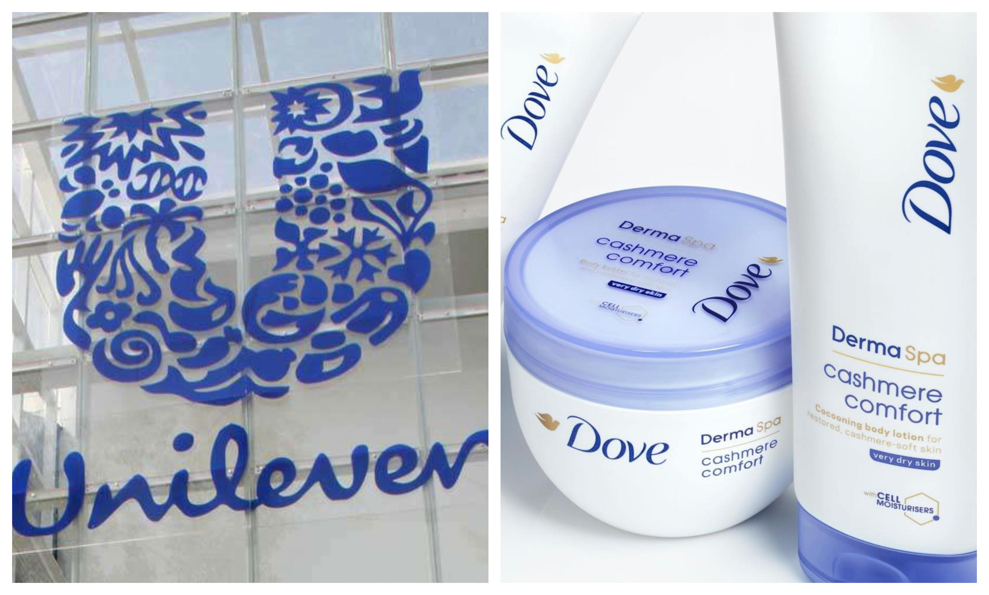Unilever logo and products by Dove