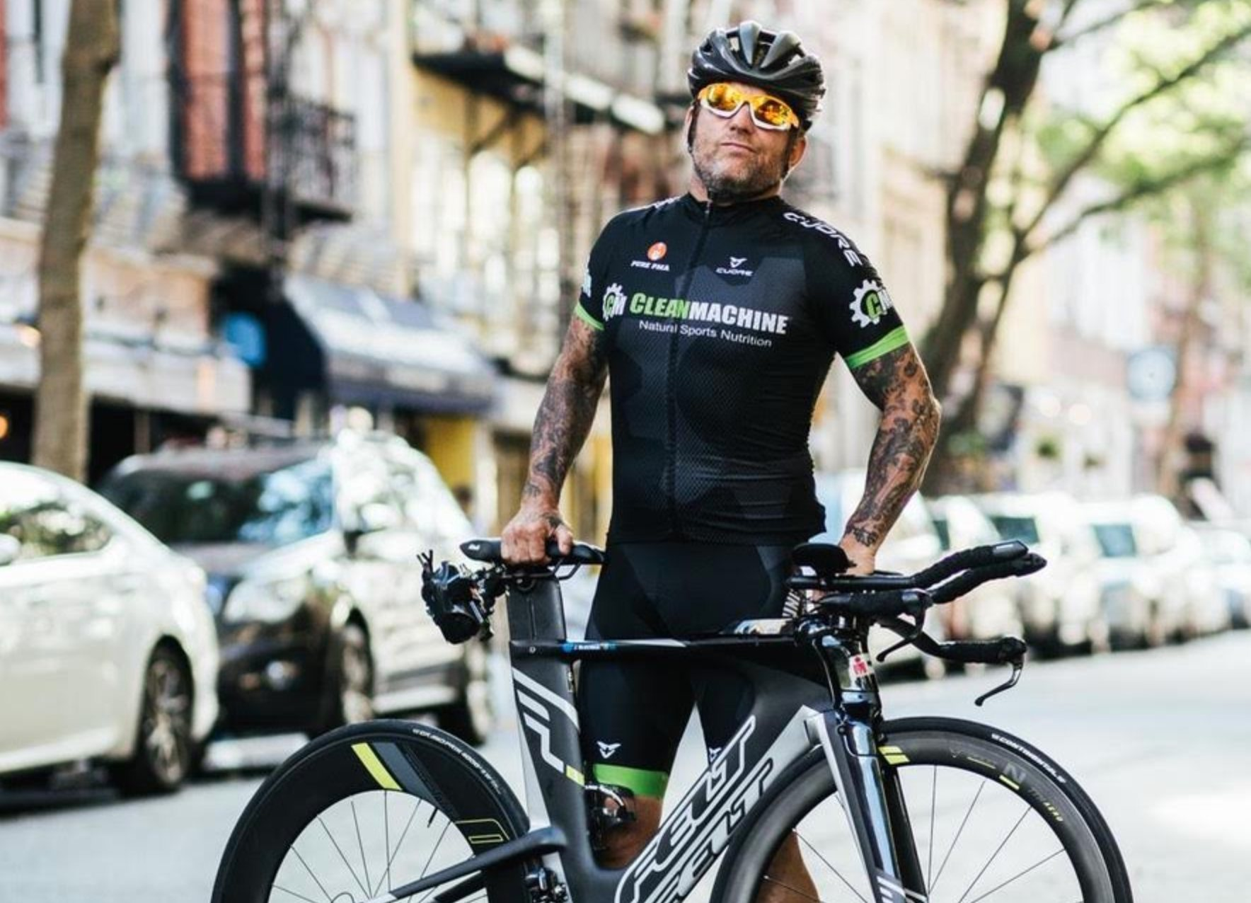 Vegan athlete John Joseph with his bike