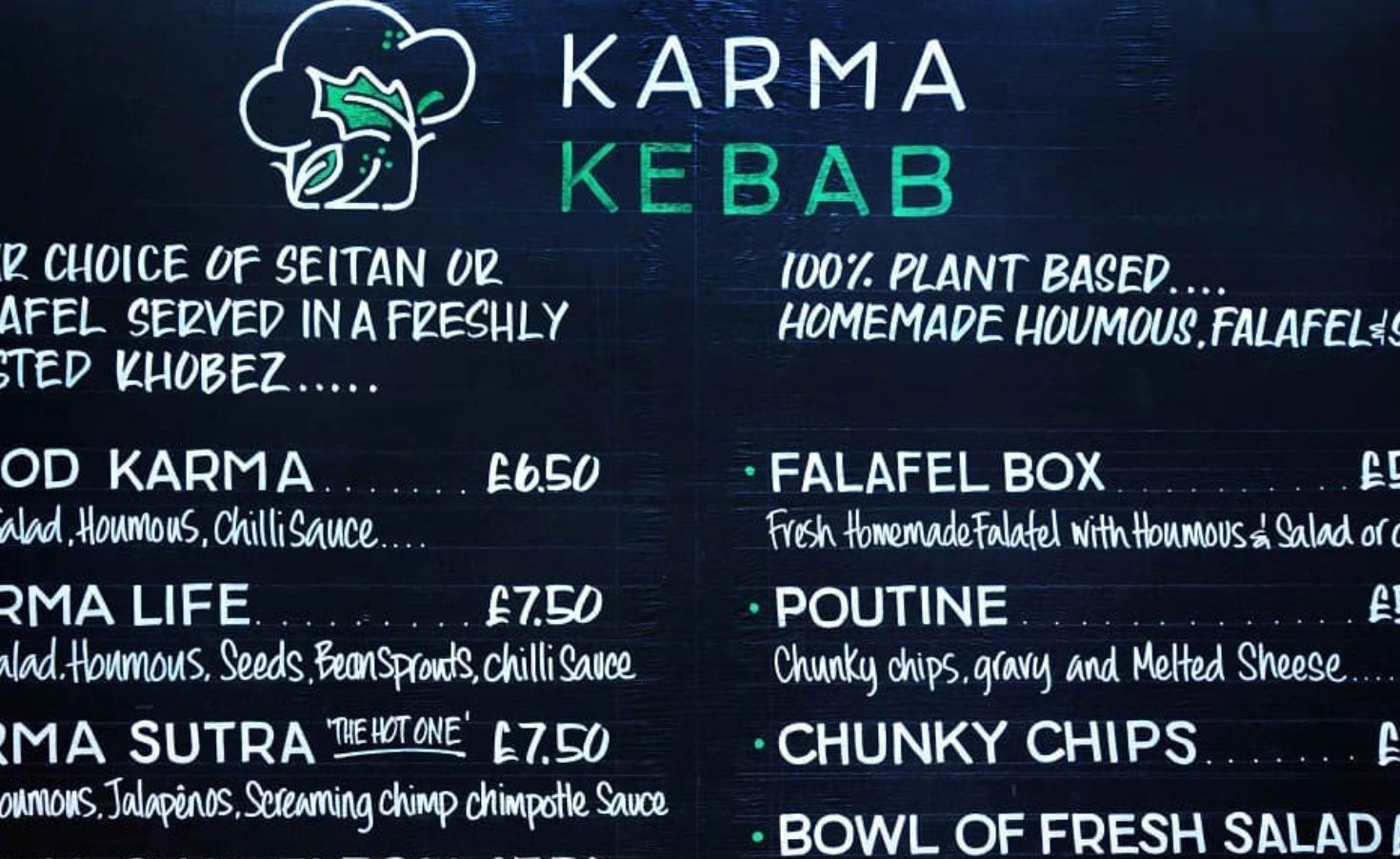 Menu board at Karma Kebabs in Edinburgh