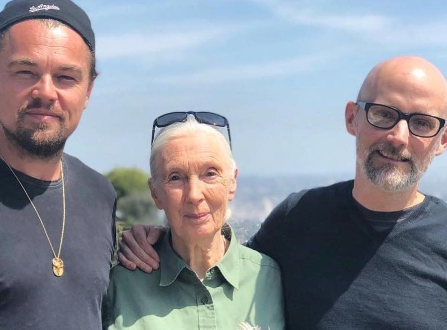 Leonardo DiCaprio with Jane Goodall and Moby