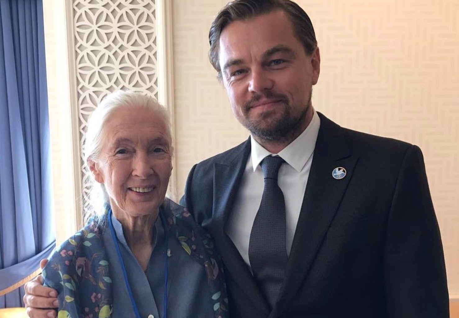 Leonardo DiCaprio with Jane Goodall