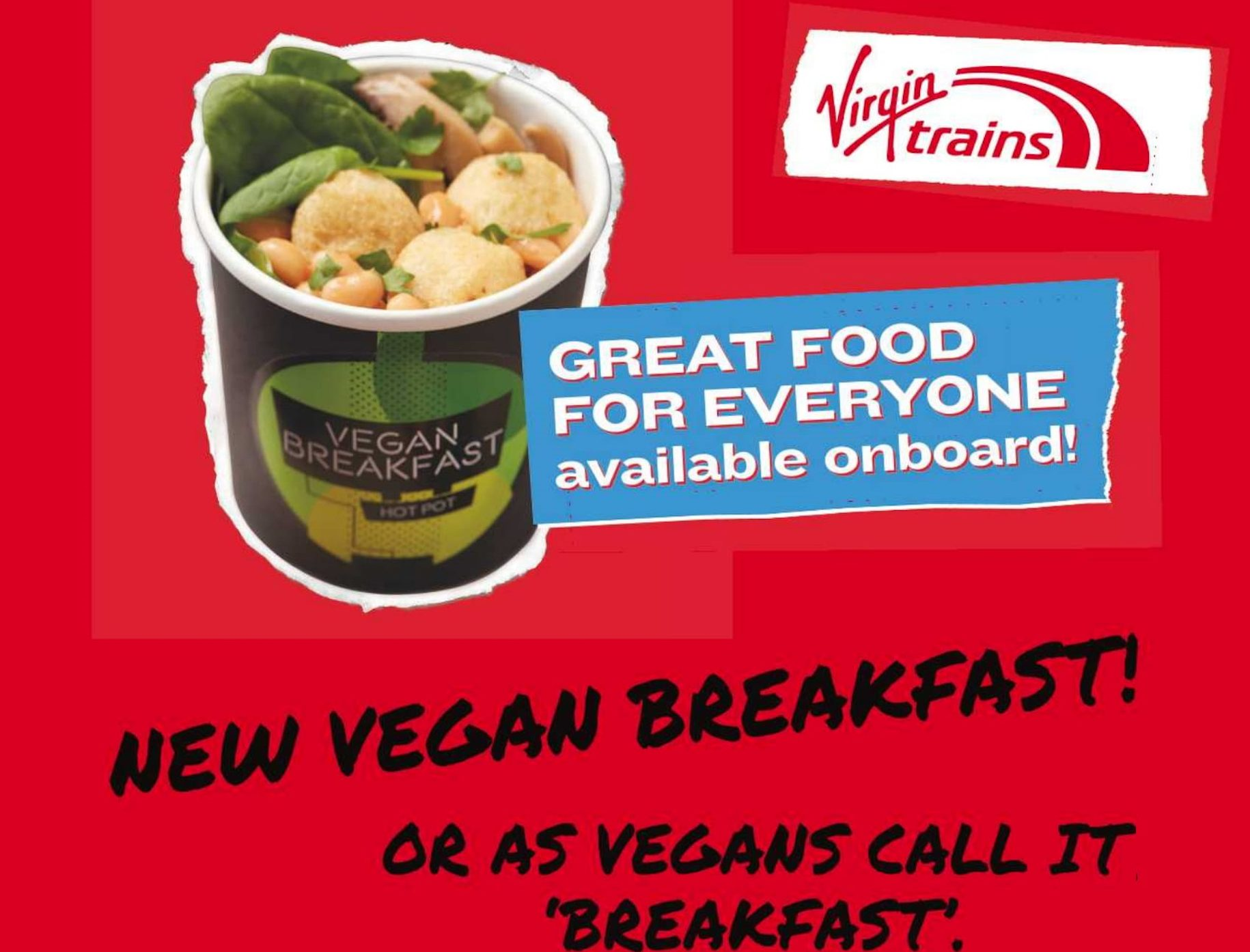 Virgin Trains poster vegan food