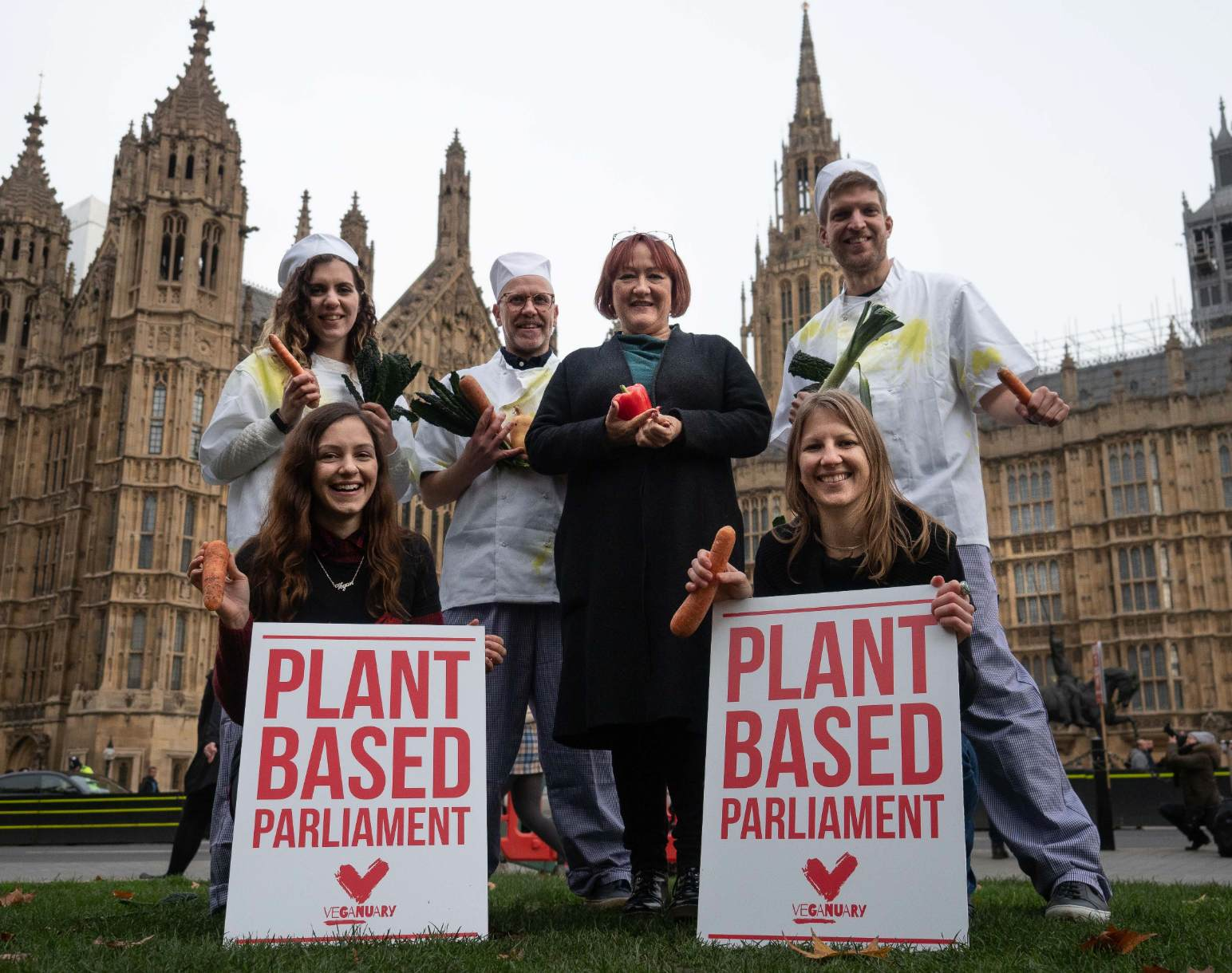 Veganuary outside Parliament