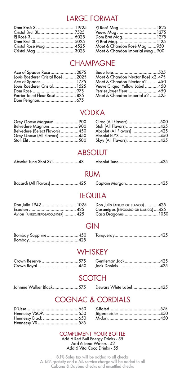 Encore Beach Club Bottle Service Menu The Best Beaches In World