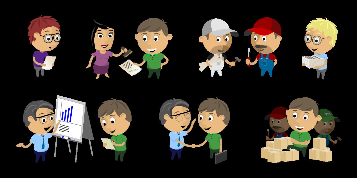 illustration af forskellige karaktere