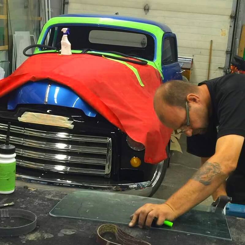 All-Brite Glass & Tint replacing all the auto glass for a custom '52 Chevy