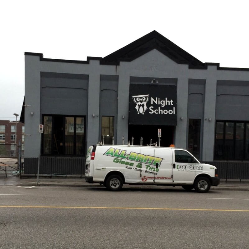 All-Brite Glass & Tint replaced the windows of this vandalized business