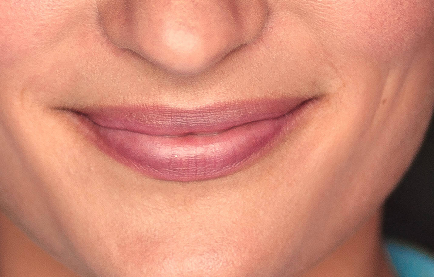 Closeup of Anna's smile.