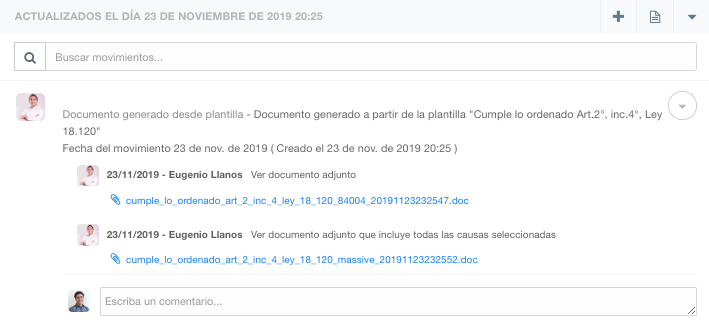 movimientos actualizados casetracking