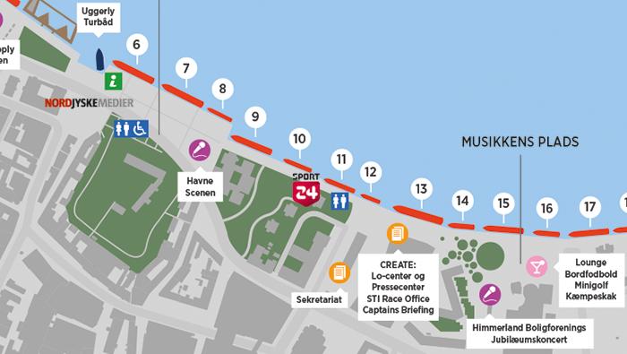 grafisk oversigtkort til Tallship Race Aalborg