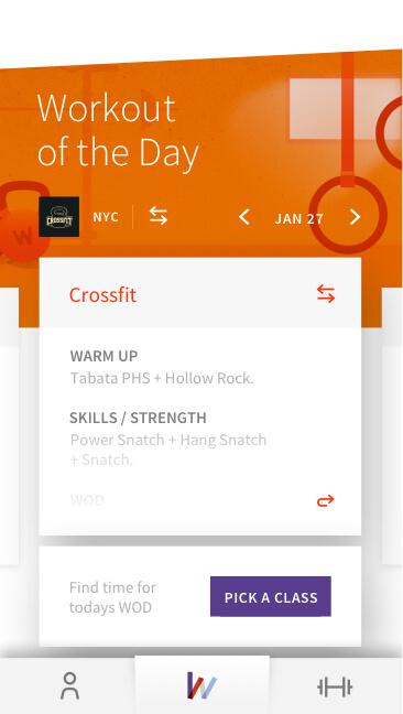 Wodify Core member's app screen