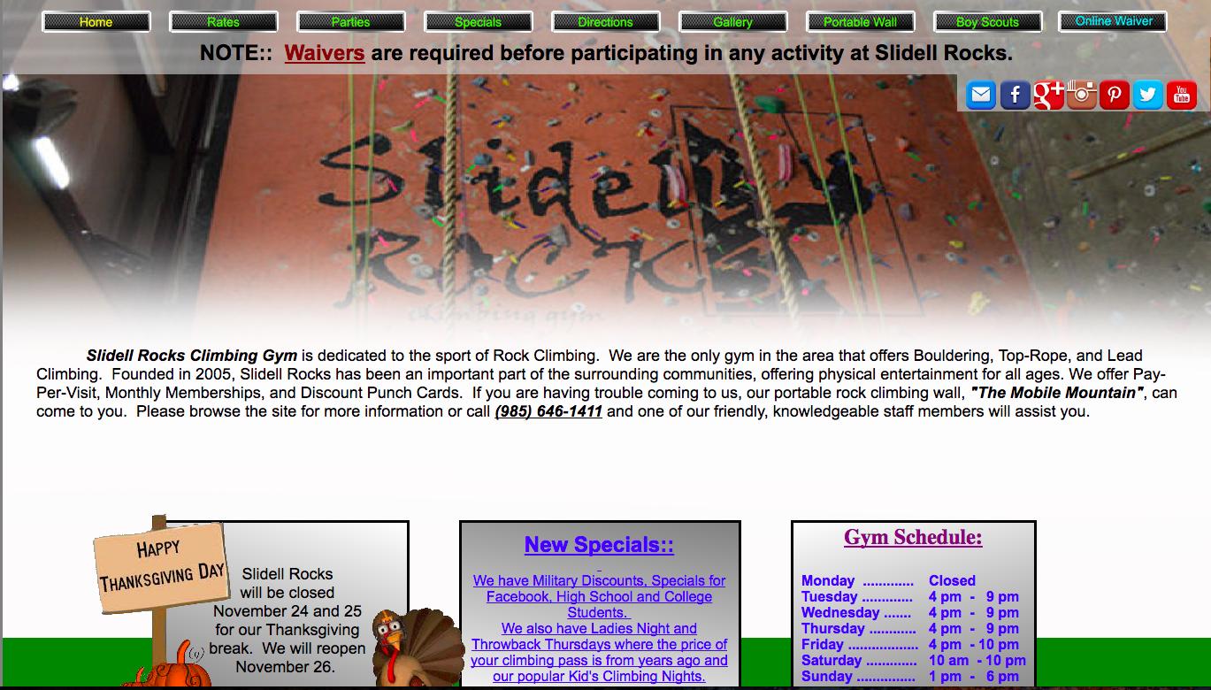 Rock Gym Old Website