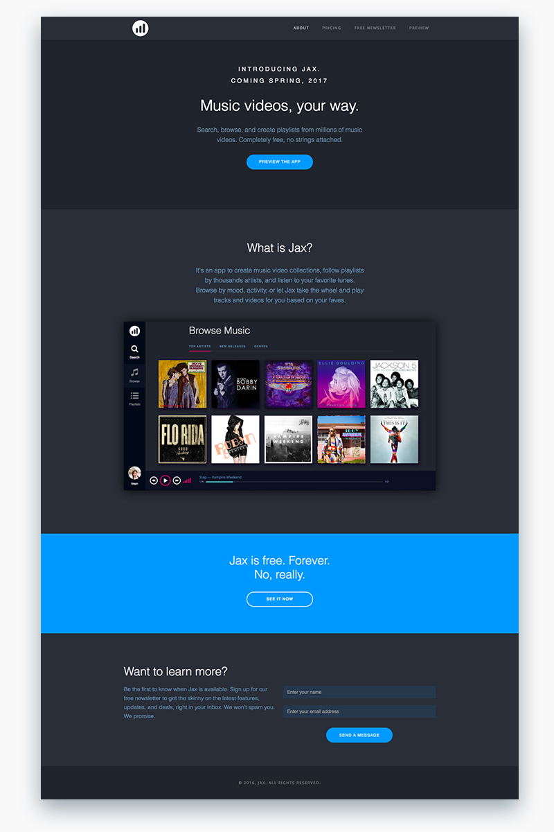 Jax UI Website Design