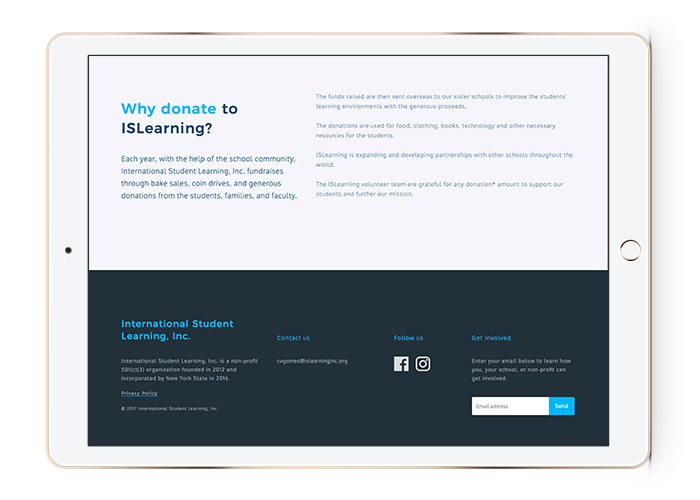 International Student Learning Website Design iPad