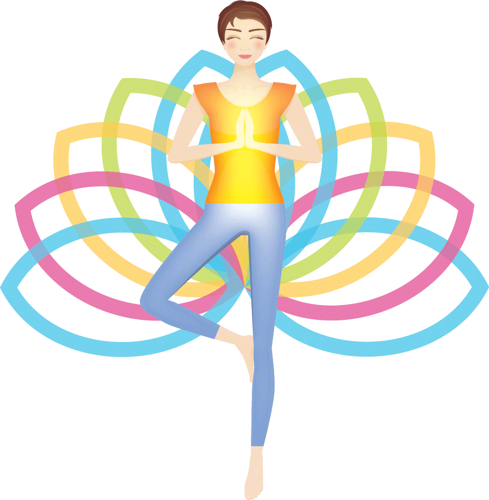 Women doing yoga pose with lotus background