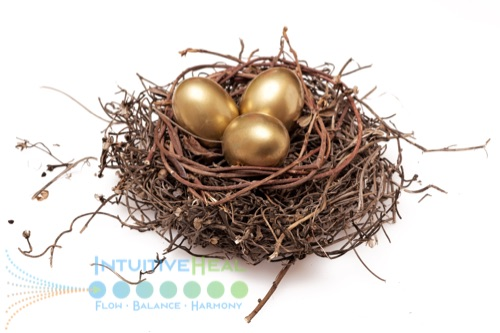Photo of three golden eggs in a nest