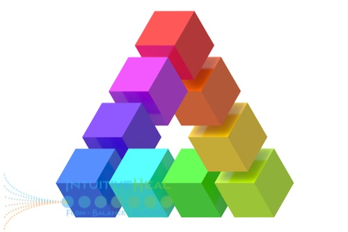 Image of 3D triangle formed of colored cubes