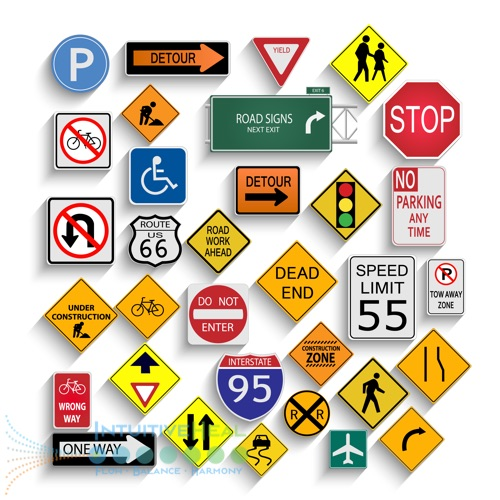 Photo of various road signs
