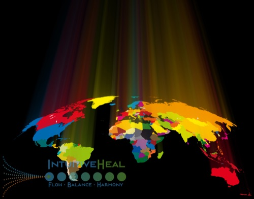 Image of colorful world map with light rays emanating