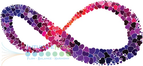 Image of colorful infinity symbol made of hearts
