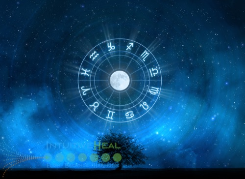 Image of sky with astrological wheel around the moon