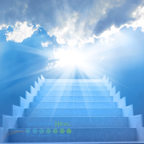 Image of stairs going to bright sky with sun rays and clouds