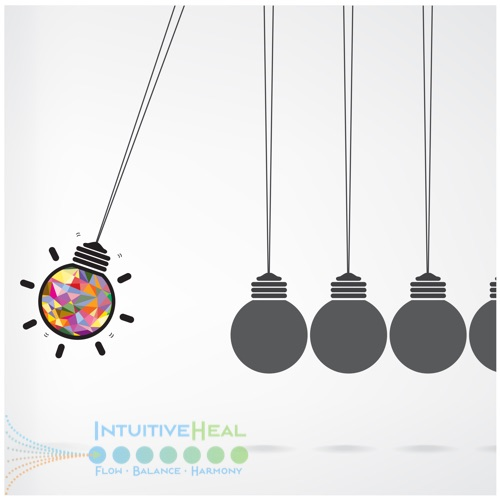 Image of a multi-colored light bulb on a string swinging toward stationary bulbs
