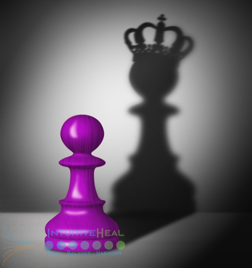 Image of a chess pawn casting a chess queen shadow