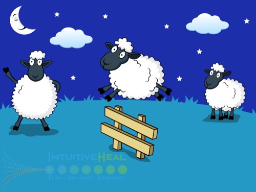 Image of cartoon sheep jumping over a fence