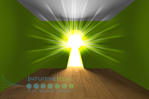 Image of bright light emanating through a key hole in a room