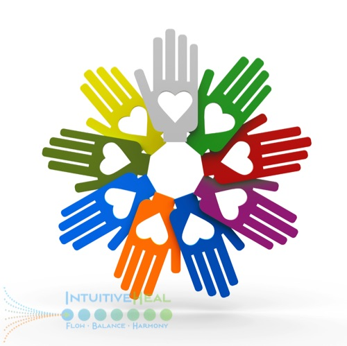 Image of multi-colored art hands in a circle