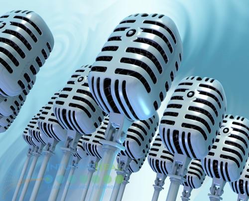 Image of multiple radio broadcast microphones