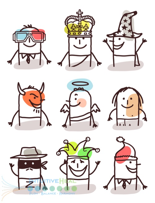 Image of different cartoon personalities (devil, king, angel etc.)