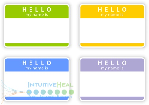 Image of colorful montage of Hello My Name Is... stickers