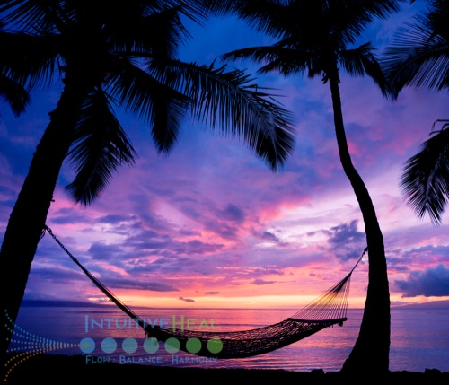 Photo of hammock between two trees in front of ocean sunset