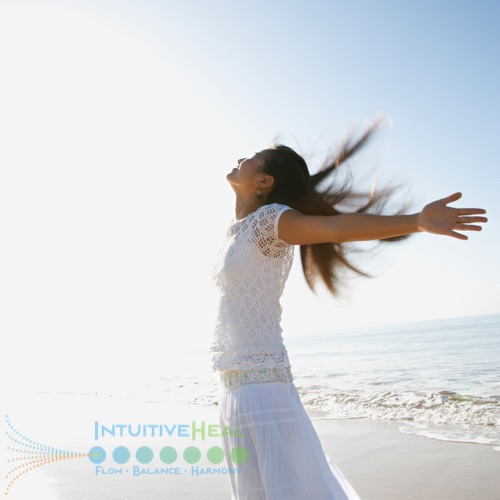 Photo of woman with arms stretched back and hair in the wind