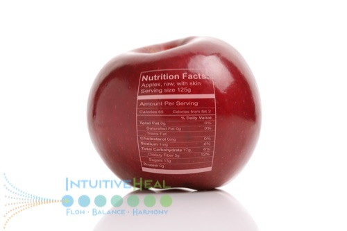 Photo of a red apple with a nutrition label superimposed on it
