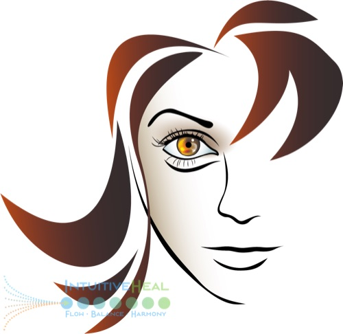Drawing of a woman's face emphasizing her eye