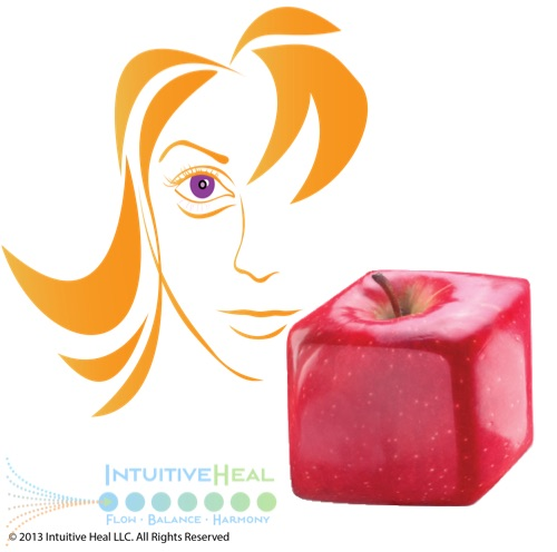 Image of woman's face next to a square apple